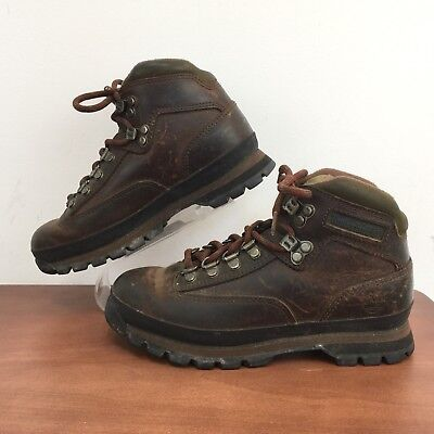 Timberland 95310 Euro Hiker Brown Leather Ankle Boots Hiking Work Womens 6 M Timberland Womens Euro Hiker