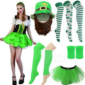 Disfraz-Irlandes-San-D-A-DE-Patricks-Parade-Barra-Bailarina-Sombrero-Calcetines