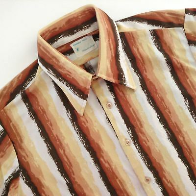Vintage 1970s Knit Disco Shirt Large Striped Brown Beige Gold Rust Button Front](Gold Disco Shirt)