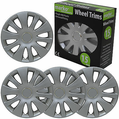"""15"""" Wheels Trims Silver ABS Plastic Universal Fitting Alloy Look Cover Set of 4"""