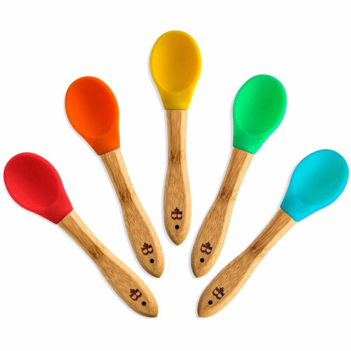 Bamboo Organic Silicone Baby Feeding Spoon   BPA Free and FDA Approved