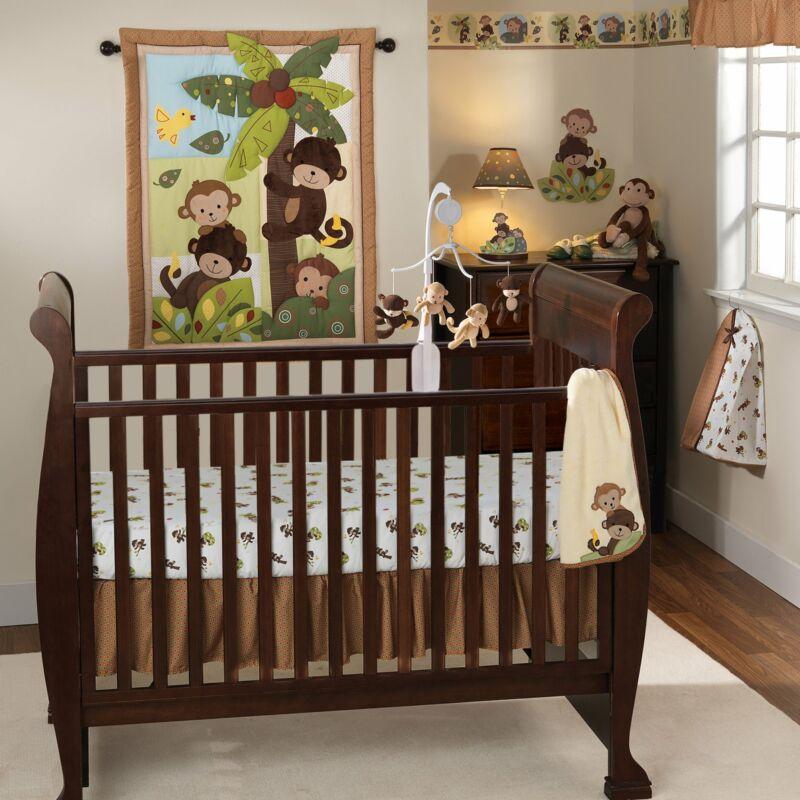 Bedtime Originals Curly Tails 3-Piece Crib Bedding Set - Brown, Green, Animals