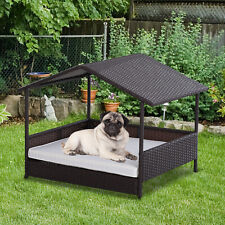 Wicker Pet House Dog Bed for Outdoor Patio Rattan Pet Furniture with Cushion