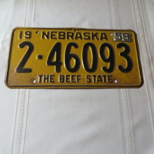 1958 NEBRASKA LICENSE PLATE 2-46093 WITH 59 TAG