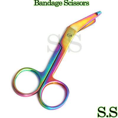 Lister Bandage Scissors 4.5 Multi Rainbow Titanium Color Surgical Instruments