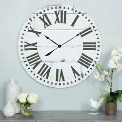Large Wall Clock 30 in Roman Natural Distressed Wood Plank Style Rustic Country