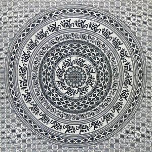 tenture couverture indienne l phants mandala noir et. Black Bedroom Furniture Sets. Home Design Ideas