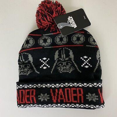 Star Wars Disney Darth Vader Black Red Adult Knit Winter Pom Pom Cuffed Beanie - Darth Vader Beanie