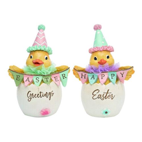 Set/2 Yellow Chicks Party Hat Easter Spring Figurines Retro Vntg Decor Transpac