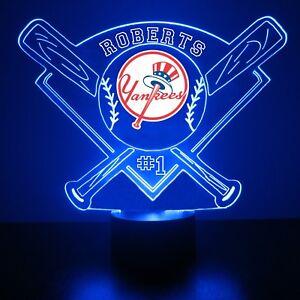 New York Yankees Night Light Lamp MLB Baseball Personalized FREE LED Light Up
