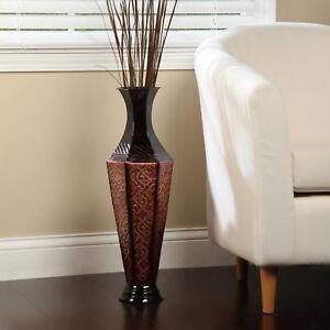 S Tall Glass Black Flower Pattern