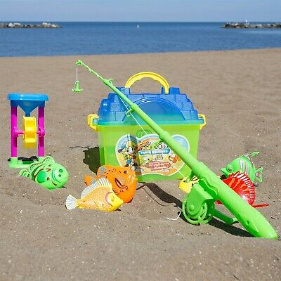 Toy Fishing Set Pole Rod Reel Tackle Box Magnetic Fish Pretend Play](Fishing Toy)