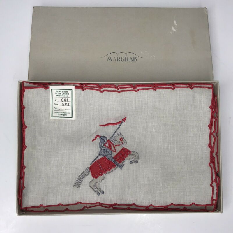 9 MARGHAB Vintage Cocktail Napkins Knight Jouster Lance Embroidered Linen Nice!