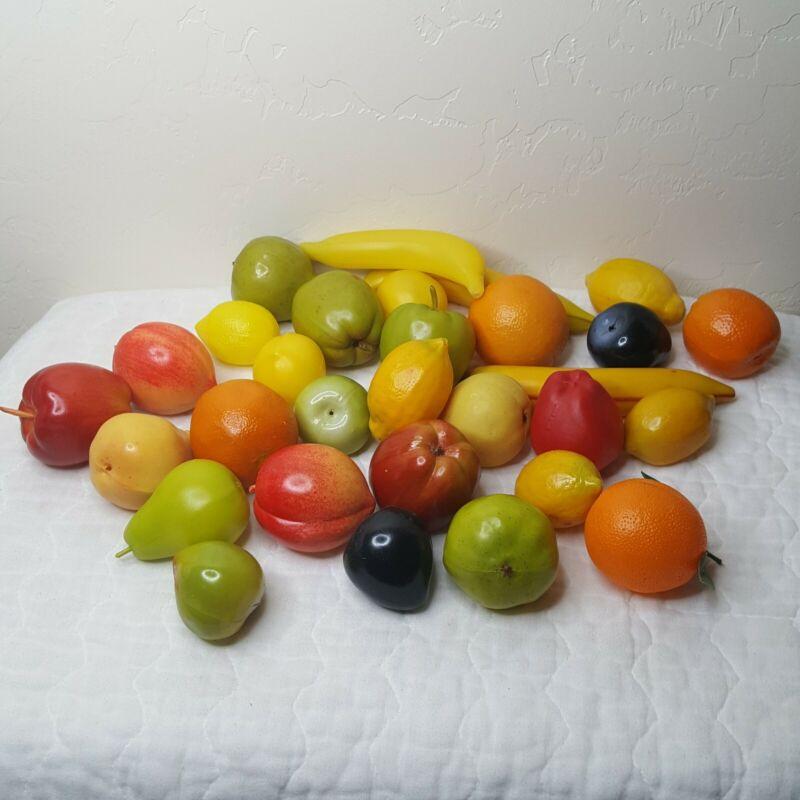 Over 24 Pcs Artificial Fruit Plastic Decorative Faux Fake Fruit Home Decor