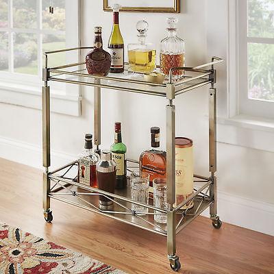 Modern Industrial Mobile Metal 2 Shelf Glass Top Bar Serving Cart -ANTIQUE BRASS 2 Shelf Metal Cart