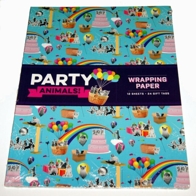 Party Animals Gift Wrap . . . .  12 sheets / 6 designs + gift tags