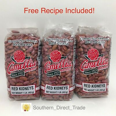 Camellia Famous New Orleans Red Beans Dry 3 Pack Lot FREE RECIPE Free Shipping