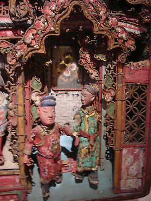 Antique Chinese puppet diorama The Water Margin Shuihuzhuan Qing dynasty