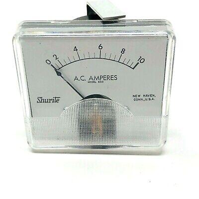 Shurite Panel Meter Ac Amps 1-10 Model 850 Nos Vintage Analog