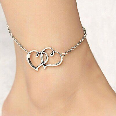 Double Heart Women Anklet Ankle Bracelet Foot Jewelry Silver tone Girl Present Anklets