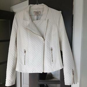 Womens Jacket Short Smart Ivory/White Faux Leather XL Caringbah Sutherland Area Preview