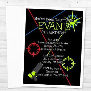 Laser Tag Invitations Ebay