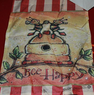 28x40 SPRING SUMMER BEE HAPPY HONEY BEES  FLOWERS  Large FLAG