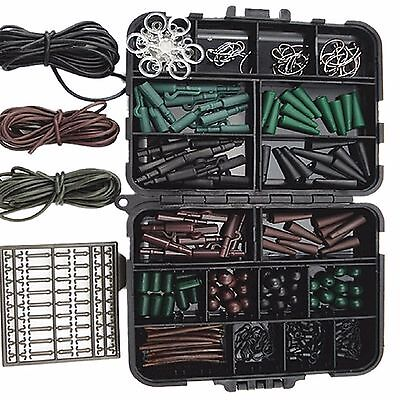 192tlg. Karpfen Zubehör Set Box Hacken Safty Clip Tail Rubber Angeln Art 014