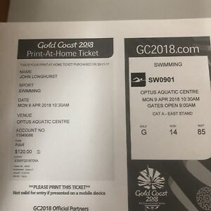 Commonwealth Swimming tickets Scarborough Redcliffe Area Preview