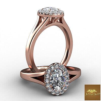 Halo Split Shank Oval Diamond Engagement French Pave Set Ring GIA F VVS1 0.70Ct 8