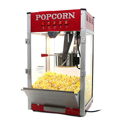 Paramount 16oz Commercial Popcorn Maker Machine - 16 Oz Kettle Popper Red