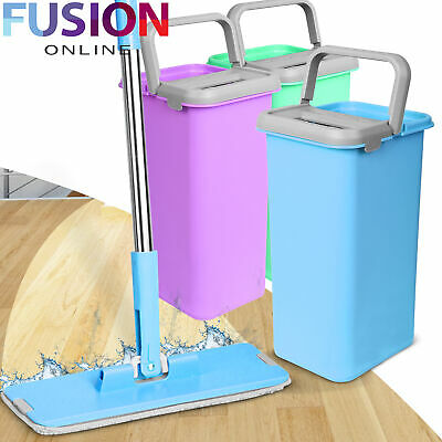 Flat Mop Bucket Microfibre Water Floor Cleaner Tiles Marble Kitchen Hands Free