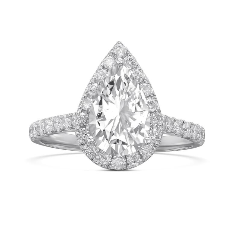 1.50 Ct Natural Real Diamond Engagement Ring Pear Shape Excellent 14k White Gold