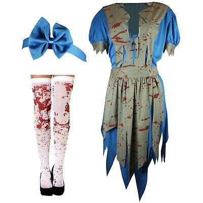 Halloween Ladies HORROR ALICE In Zombieland Fancy Dress Up Party Zombie - Horror Dress Up Kostüm