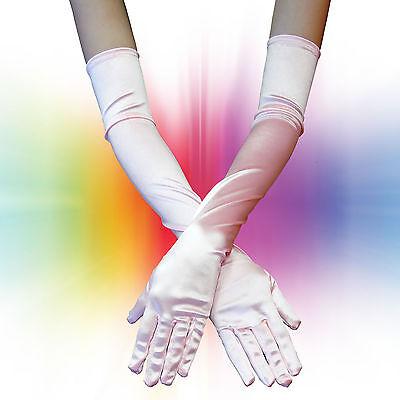 US SELLER~ OPERA LENGTH LONG GLOVES 4 DEBUTANTE MASQUERADE BALL MARDI GRAS PINK - Masquerade Ball Gloves