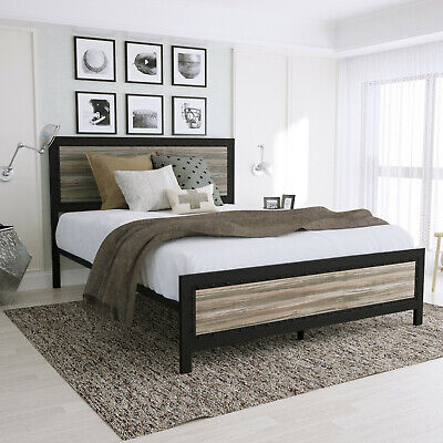 Queen Full Size Metal Platform Bed Frame with Rustic Wood Headboard & Footboard