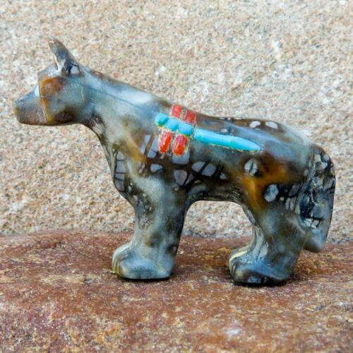 Zuni Fetish-Native American- Zuni Animal Carving-Dragonfly Wolf-Clissa Martin