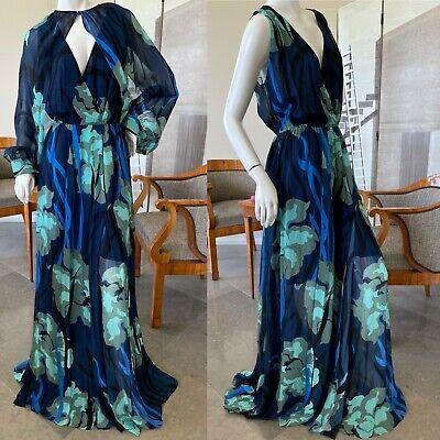 Just Cavalli Elegant Floral Print Chiffon Dress with Separate Sleeve Bolero NWT