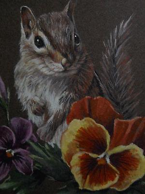 (ACEO  Chipmunk animal wildlife Mum print of Painting)