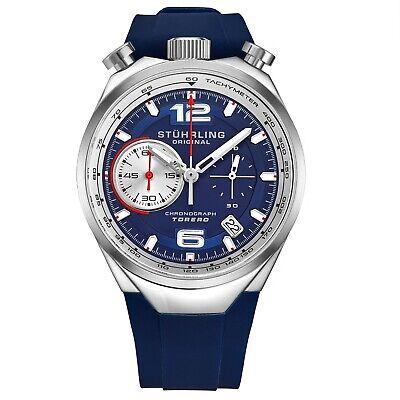Stuhrling 894 SII VK Men's Japan Chronograph Rubber Strap Bullhorn Pusher Watch