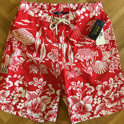 NEU POLO Ralph Lauren Badeshorts - M - Rot Weiß - Herren - Badehose Shorts
