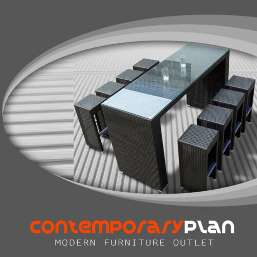 Contemporary Espresso Outdoor Bar Dining Set - Modern Minimalist New Design
