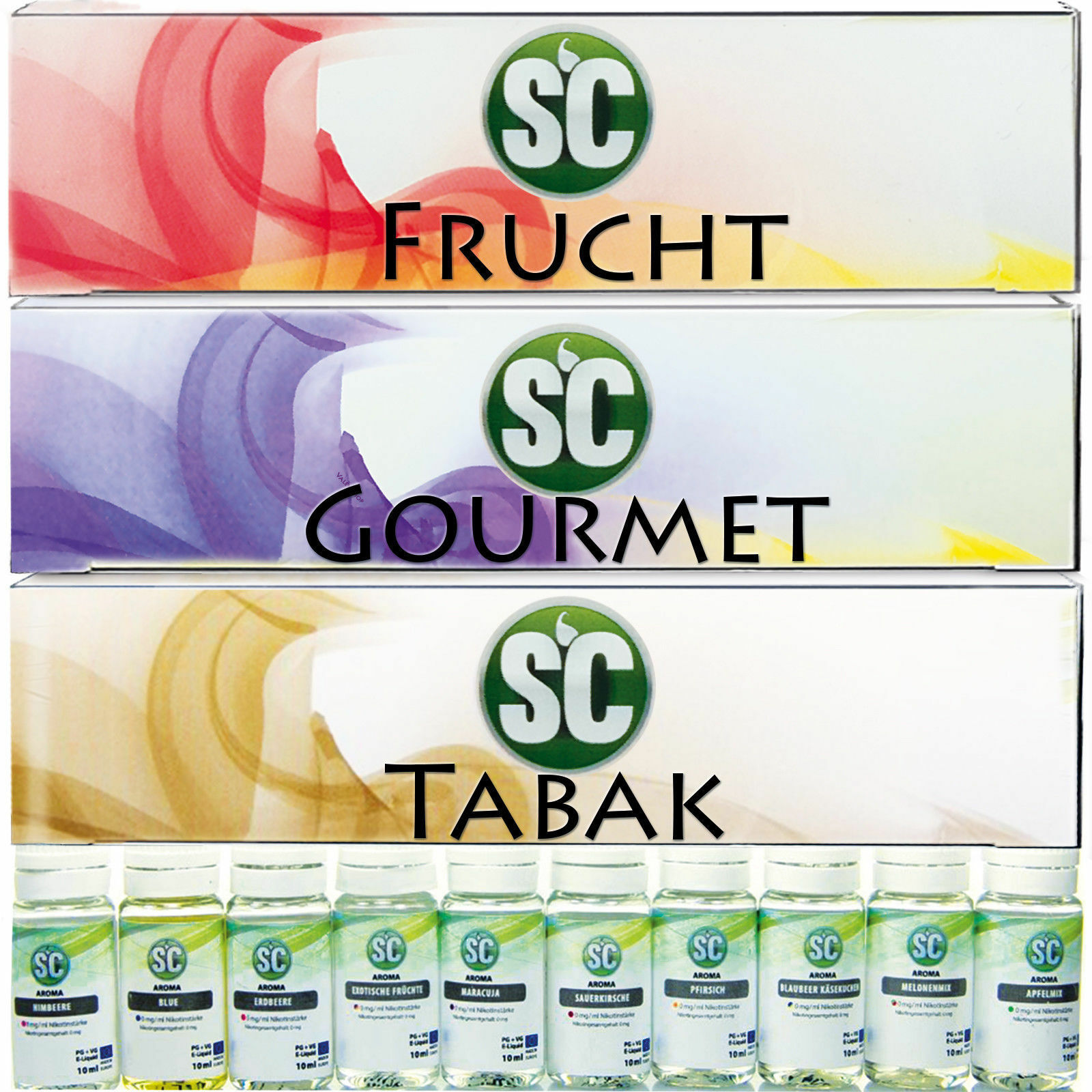 SC Liquid Probierbox 10x 10ml E-Zigarette E-Liquid Liquids Frucht Gourmet Tabak