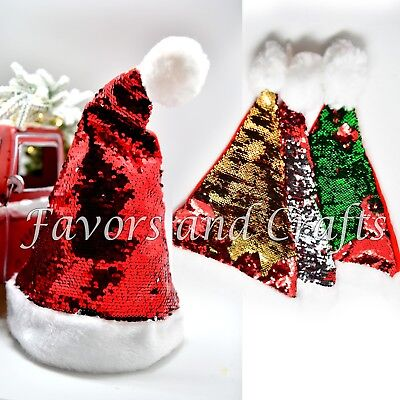 2 Christmas Santa Hats Reversible Sequins Holiday Xmas Fancy Red Party Navidad