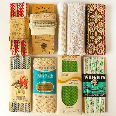 LOT Antique & Vintage LACE TRIM Crochet Rick Rack Printrim sewing Total 28YRD