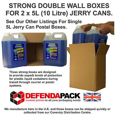 10 DOUBLE WALL POSTAL STORAGE BOXES 10L 2 x 5 Litre Jerry Can Liquid Containers