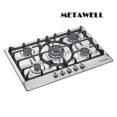 "METAWELL 30"" Stainless Steel 5 Burners Gas Hob Cooktops NG/L"