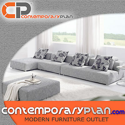 Grey Fabric Multiple Piece Sectional Sofa Zebrano Fabric Contemporary Design NEW