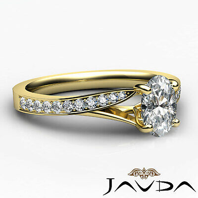 Cathedral Split Shank Pave Oval Diamond Engagement Ring GIA E Color VS2 0.85 Ct 8
