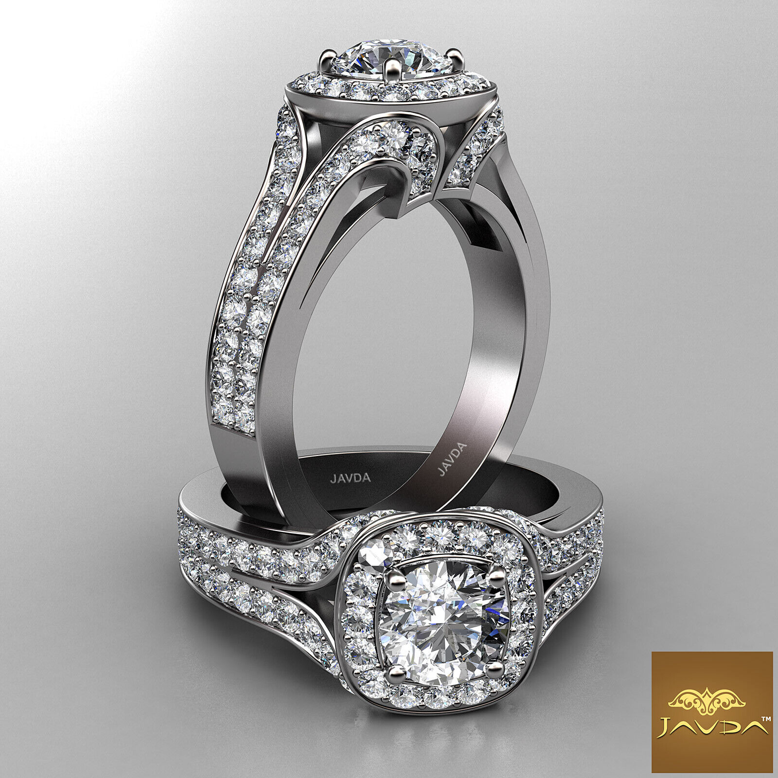 Halo Round Diamond Engagement V Shaped Split Shank Pave Ring GIA F VVS1 1.9 Ct
